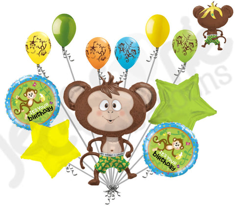 Silly Monkey & Banana Happy Birthday Balloon Bouquet