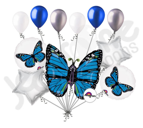 Blue Monarch Butterfly Balloon Bouquet