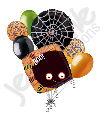 Boo! Cute Spider Web Halloween Balloon Bouquet