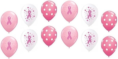 Breast Cancer Inspired Ribbons & Polka Dots Latex Balloons