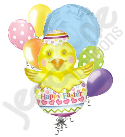 Chick in Painted Egg Happy Easter Balloon Bouquet