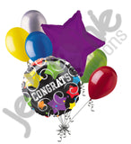 Colorful Stars & Swirls Congrats Balloon Bouquet
