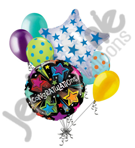 Congratulations Colorful Starbursts Balloon Bouquet