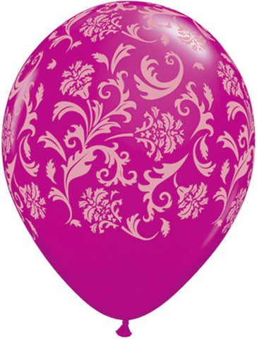 Wild Berry Damask Latex Balloons