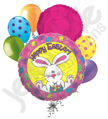 Bunny with Painted Eggs Happy Easter Balloon Bouquet