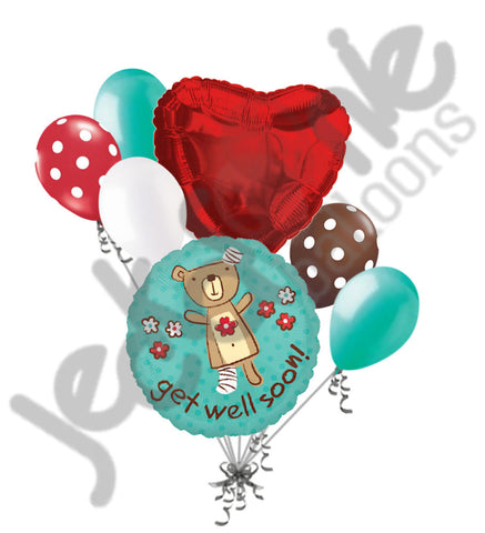 Get Well Soon Huggable Bear Balloon Bouquet