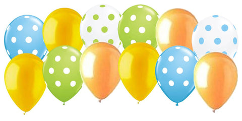 Frog & Bug Inspired Lime Green, Yellow, & Light Blue Polka Dot Latex Balloons