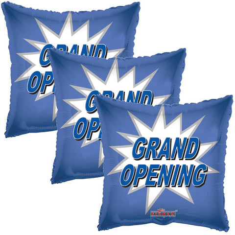 Blue Grand Opening Starburst Square Promotional Balloon