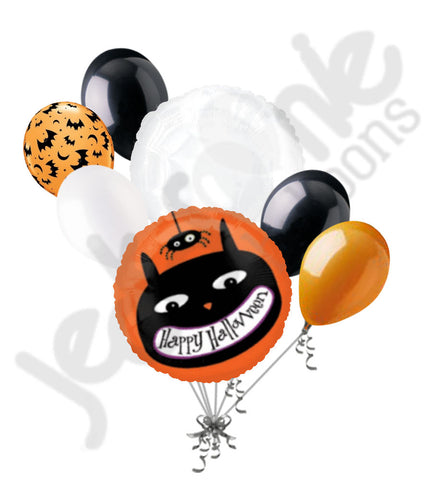 Black Cat & Spider Happy Halloween Balloon Bouquet