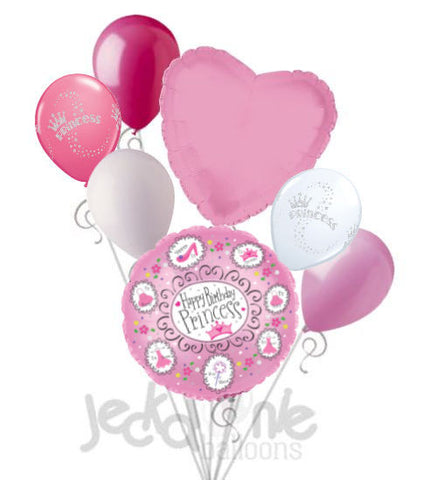 Happy Birthday Pink Princess Tiara Balloon Bouquet
