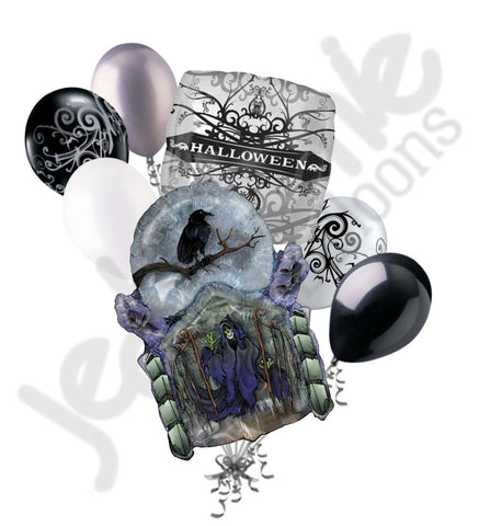 Grimm Reaper in Crypt Halloween Balloon Bouquet