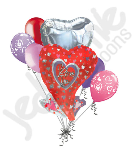 Abstract I Love You Heart Balloon Bouquet