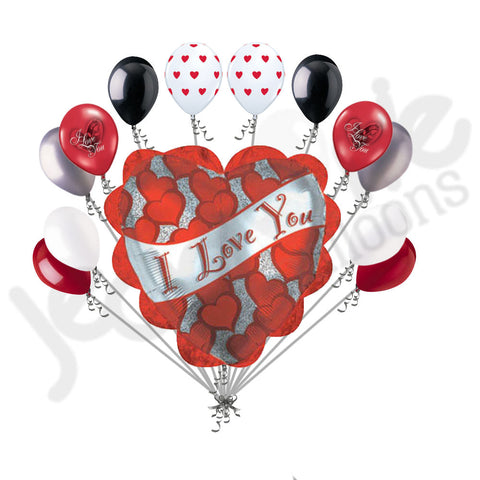 Frill & Banner I Love You Heart Balloon Bouquet