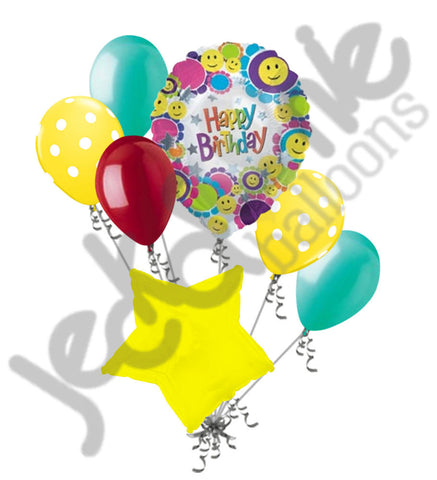 Big Grin Smiley Happy Birthday Balloon Bouquet