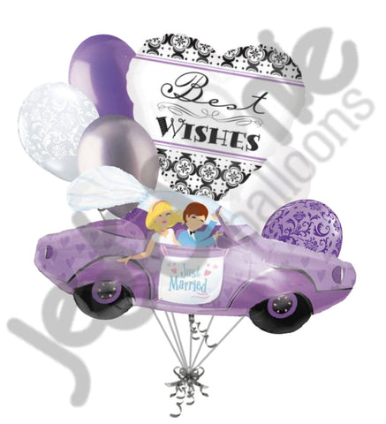 Just Married Celebration of Love Car Balloon Bouquet