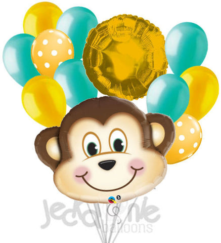 Mischevious Monkey Aqua & Gold Balloon Bouquet