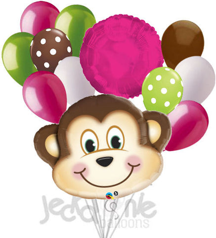 Mischevious Monkey Hot Pink & Lime Balloon Bouquet