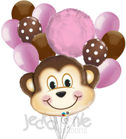 Mischevious Monkey Pink & Brown Balloon Bouquet