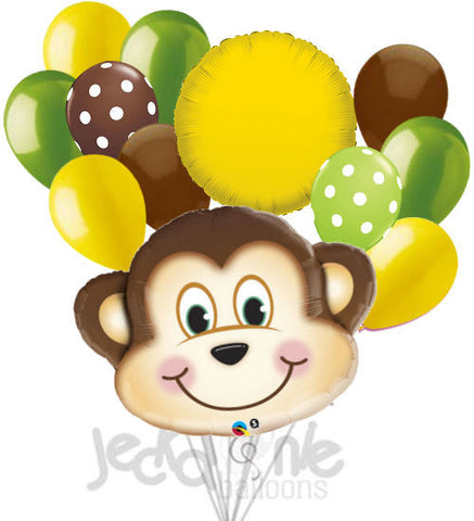 Mischevious Monkey Lime Green & Yellow Balloon Bouquet