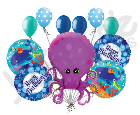 Amazing Octopus Happy Birthday Balloon Bouquet