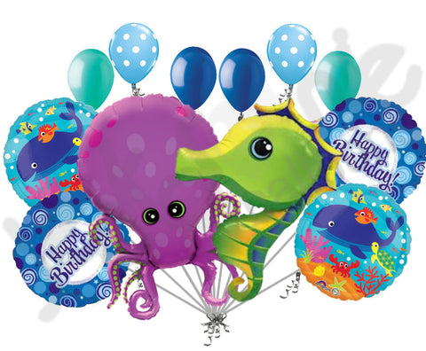 Amazing Octopus & Seahorse Happy Birthday Balloon Bouquet