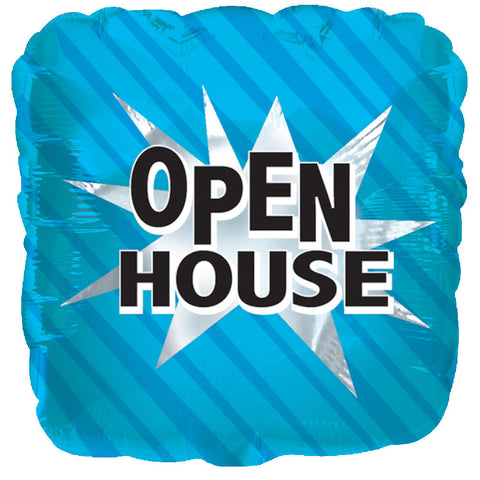 Blue Open House Square Promotional Balloon