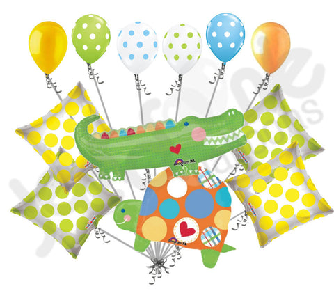 Polka Dot Alligator & Turtle Happy Birthday Boy Balloon Bouquet