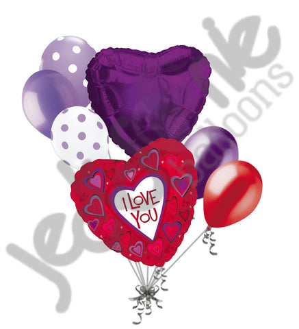 Purple Passion Hearts I Love You Balloon Bouquet