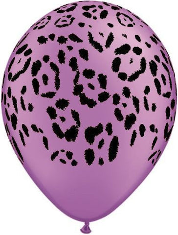 Neon Safari Purple Leopard Latex Balloons