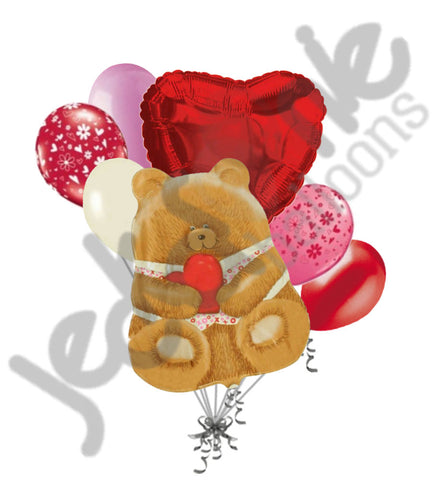 Cuddly Teady Bear with Heart Love & Valentines Day Balloon Bouquet