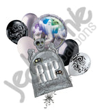 Rest In Peace Tombstone & Ghosts Halloween Balloon Bouquet