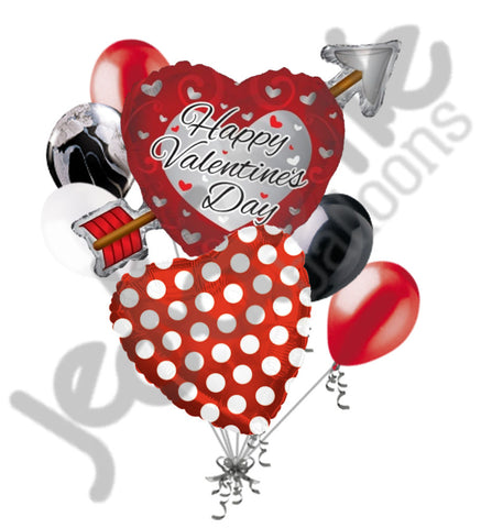 Arrow Heart Happy Valentines Day Balloon Bouquet