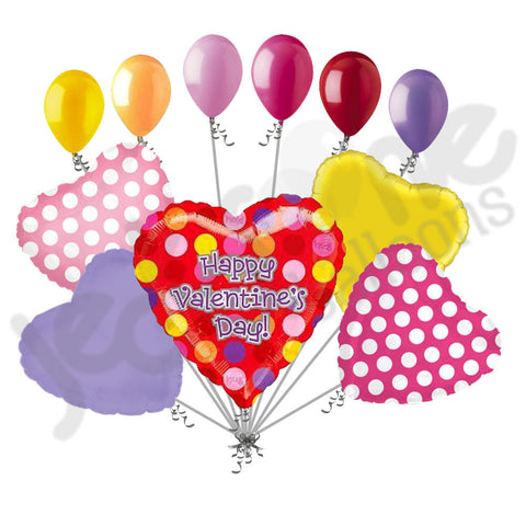 Colorful Dots Happy Valentines Day Heart Balloon Bouquet