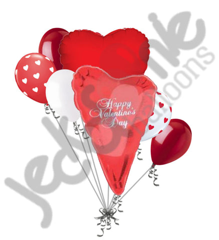 Abstract Heart Happy Valentines Day Balloon Bouquet