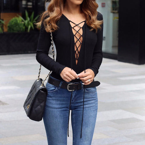 Autumn Lace Up Casual Top