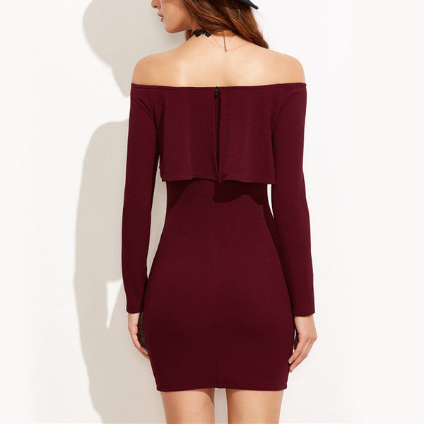 Off Shoulder Ruffle Bodycon
