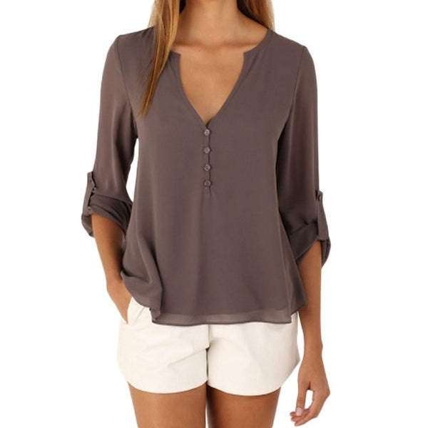 Long Sleeves Chiffon Shirt