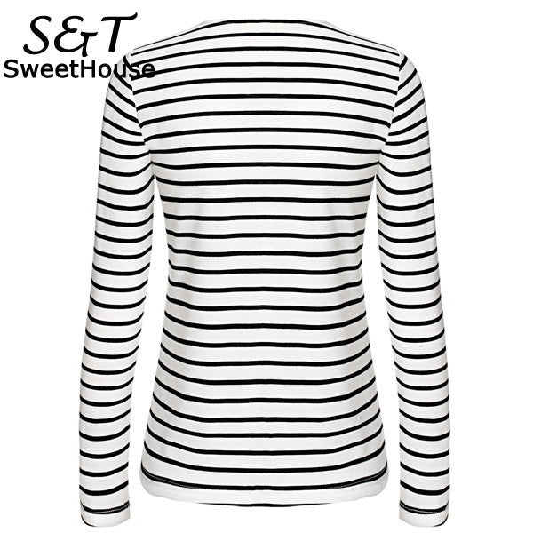 Classic V-neck Striped Tees