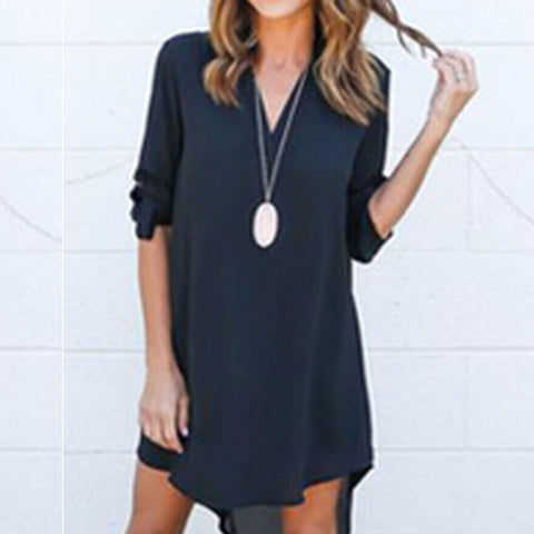 New Casual Long Sleeve Mini Dress