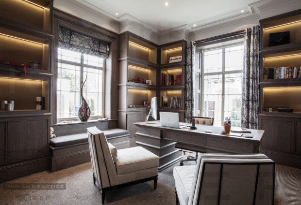 Luxury home office with fumed oak panelling - design practice by uber