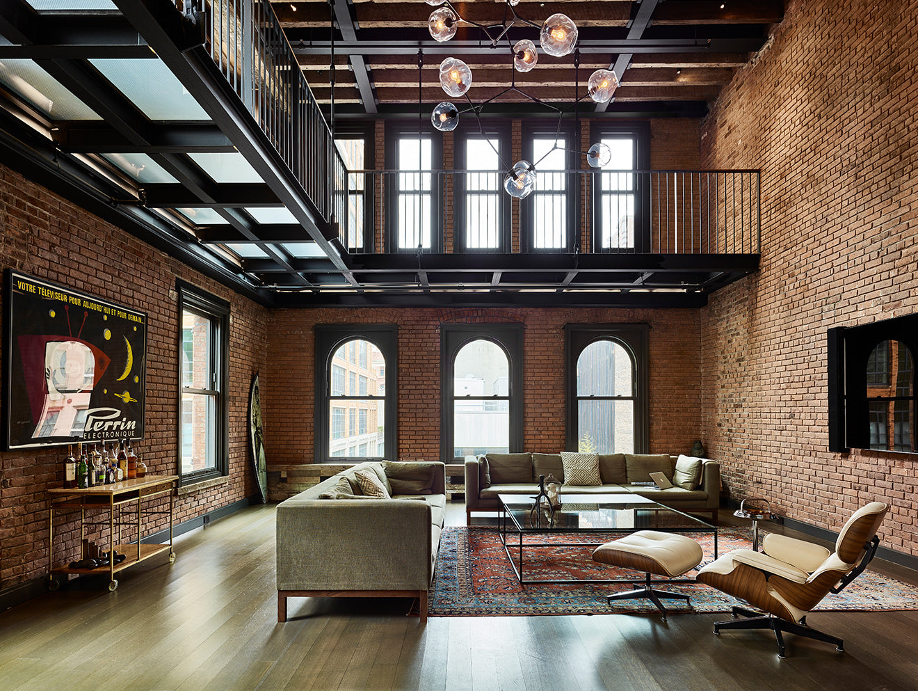 exposed red brick penthouse apartment industrial interior design New York 10 Hubert Street