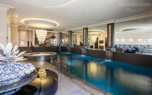 Luxury home indoor swimming pool and gym - design practice by uber