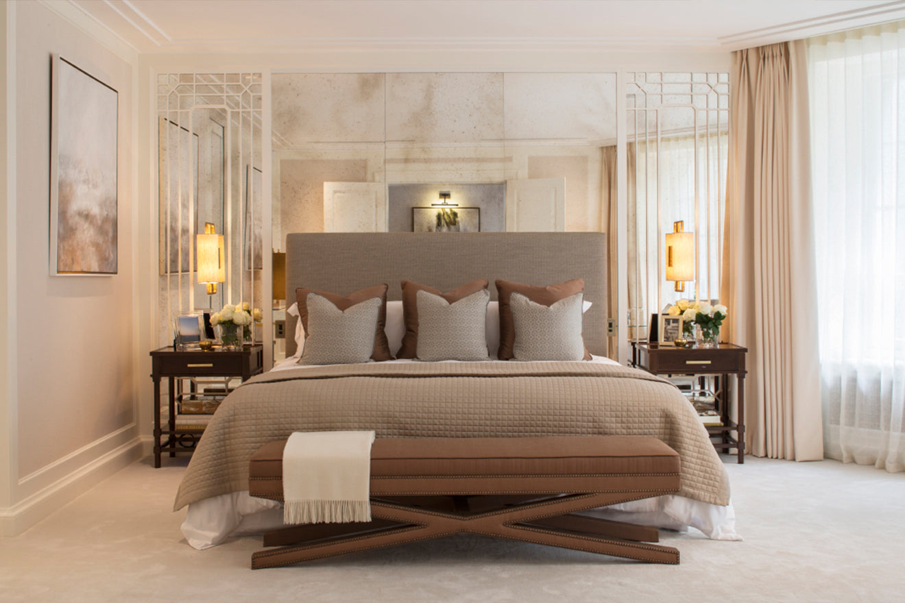 Luxury Bedroom Design, London Belgravia 1508 Interior Designers, Project Pearl