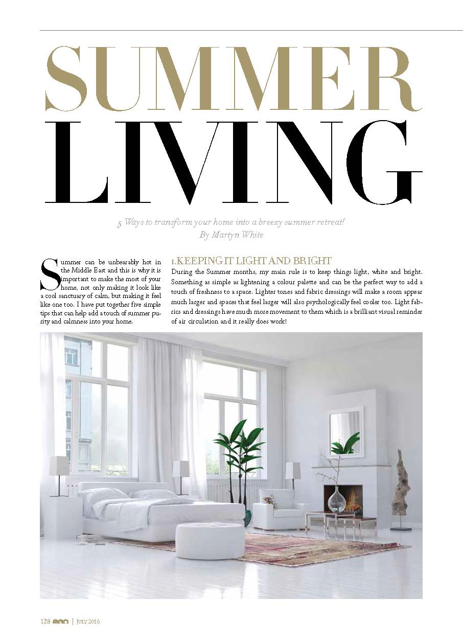 Ego Magazine Summer Living style article Martyn White July 2016