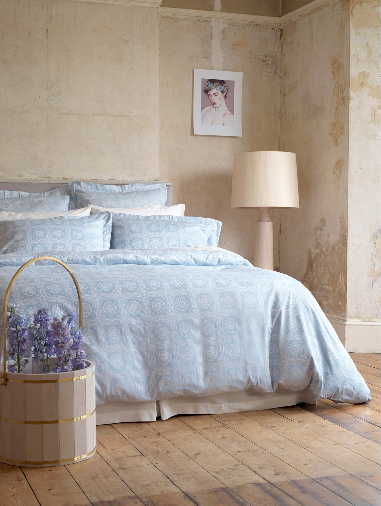 baby blue luxury bedding collaboration with 2LG and Secret Linen
