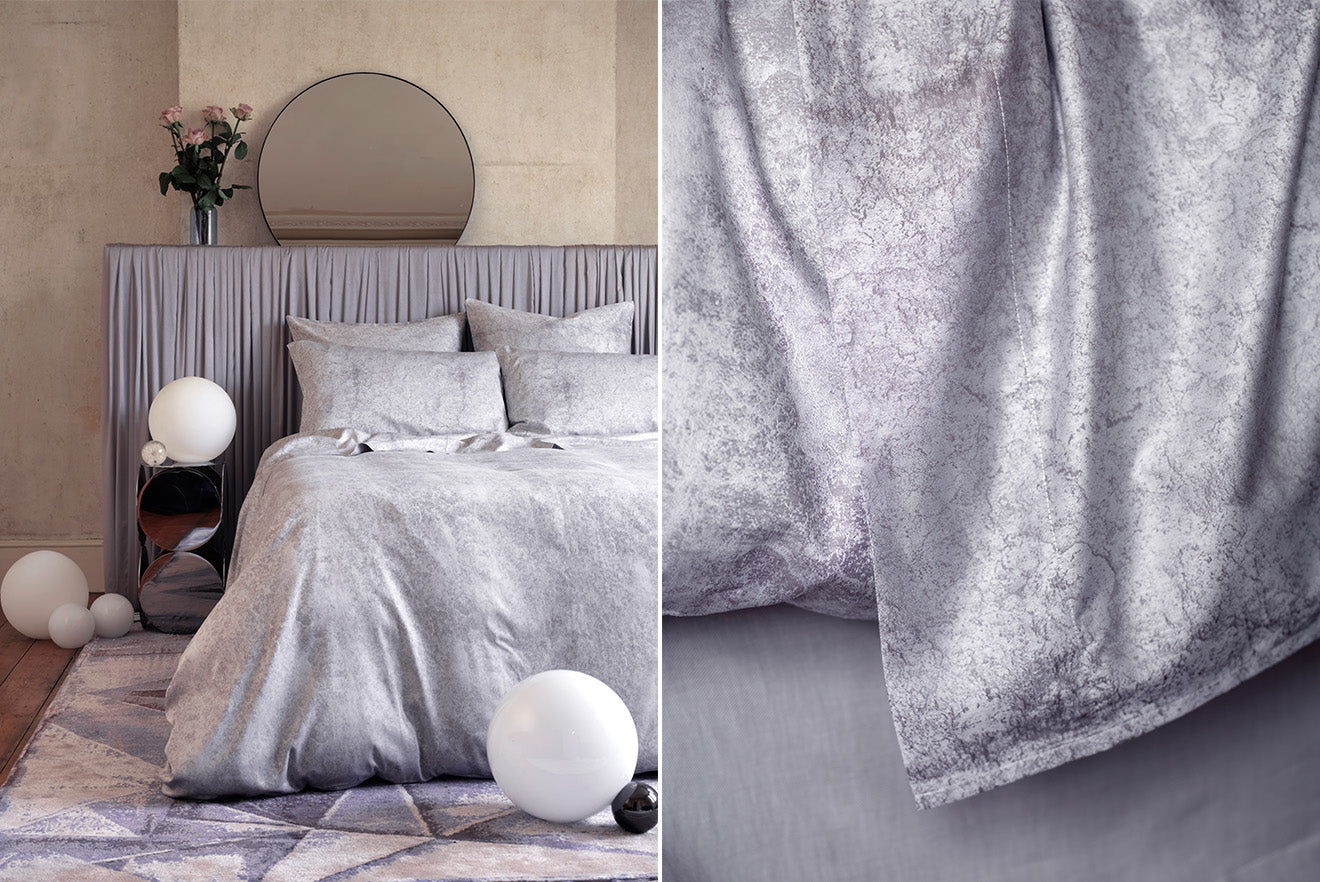 Silver print bedding and duvet design