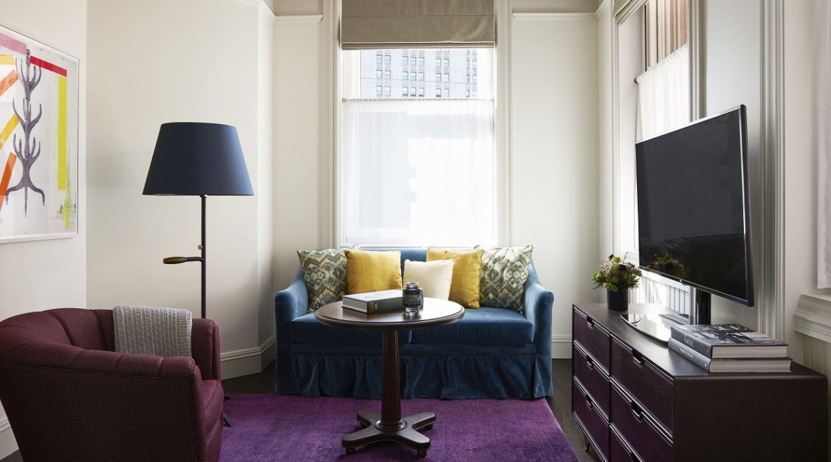 The Beekman New York Corner Suite living space