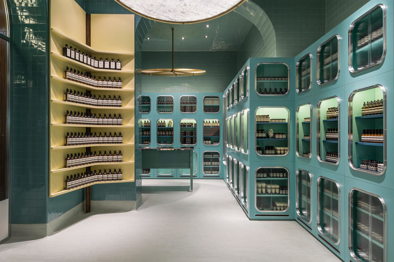 Beautiful green tiled Aesop Store in Milan