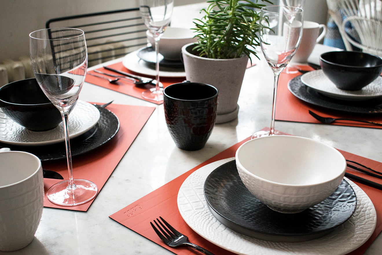 Black and white exotic animal textured plates from Amara own label