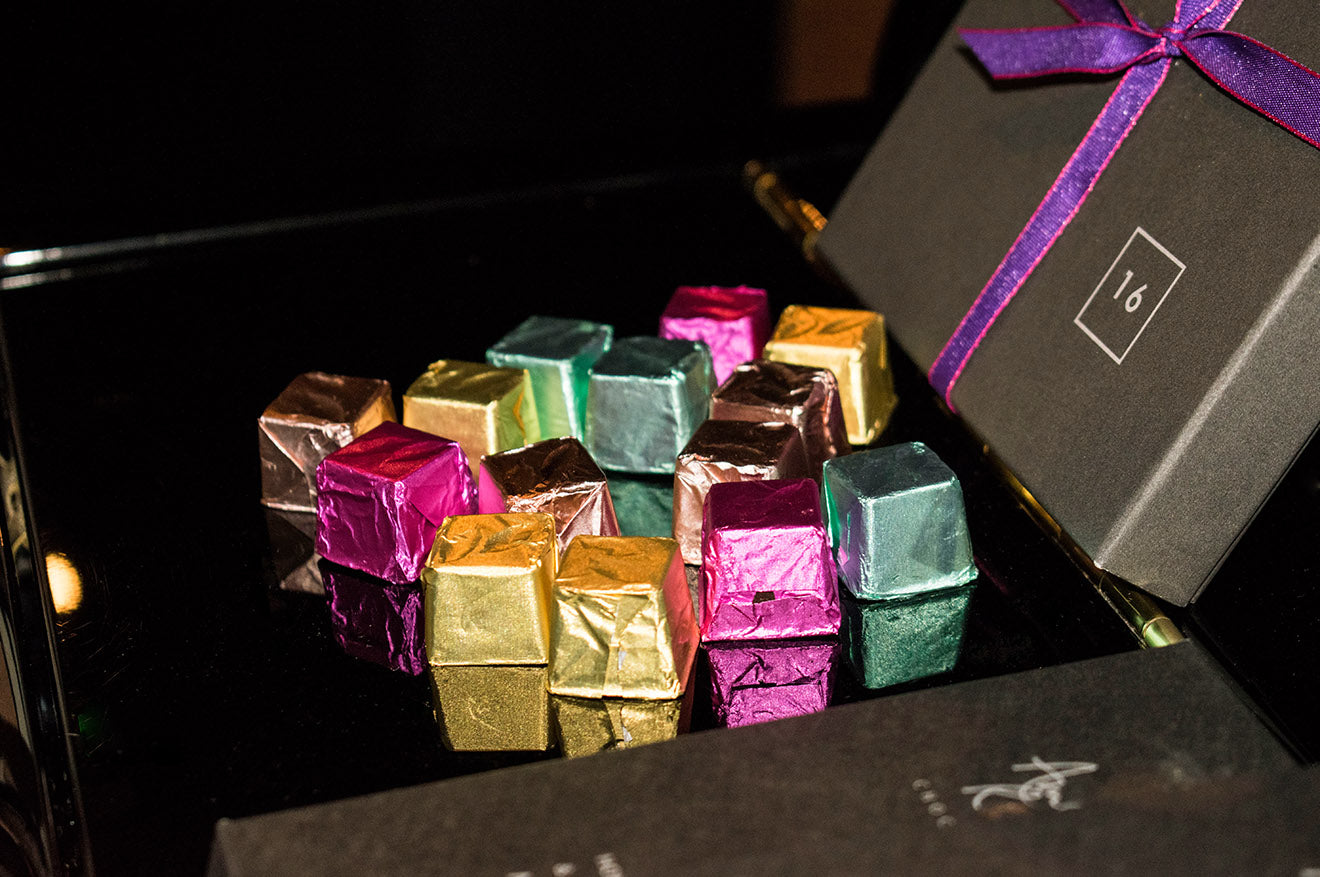 Amelia Rope colourful chocolate display